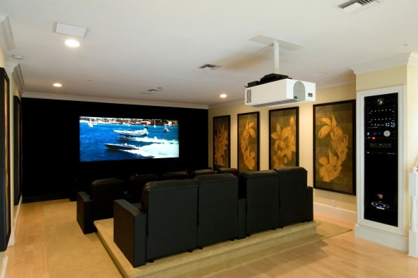 Home Theater with Projector and Rack